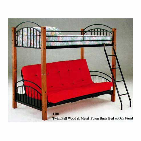 "Bunk bed with twin combo mattress & 7"" futon pad"