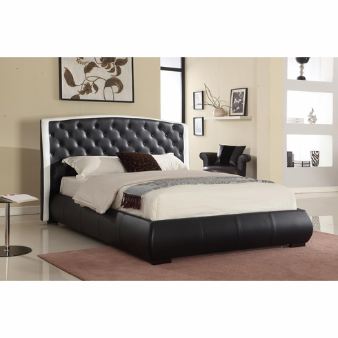 CAL-KING BLACK LEATHER BED
