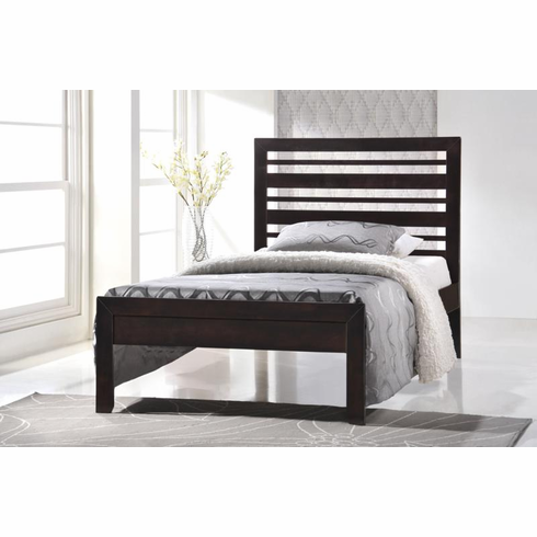 CAPPUCCINO TWIN WOOD PLATFORM BED