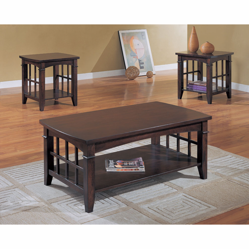 **Cappucino finished coffee & end table set with shelving
