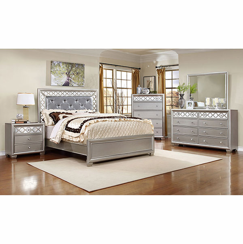 Champagne Silver finished queen size Shamrock bedroom set ( Chest is optional)