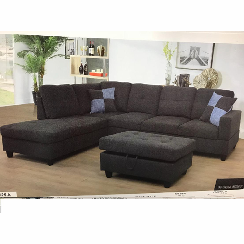 Charcoal Sectional with Ottoman has Storage