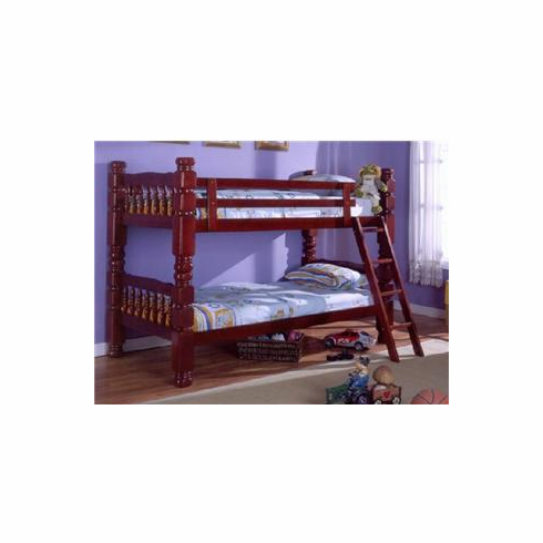 "*Cherry 4.5"" wooden twin/ twin bunkbed convertible to 2 beds"