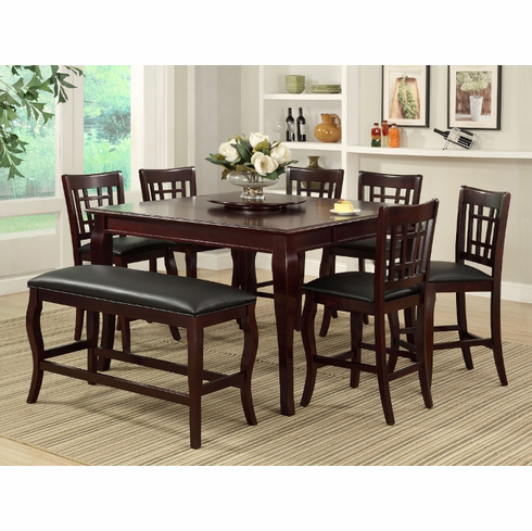 Cherry pup dining table with 6 chairs ( BENCH IS SOLD SEPARATELY)