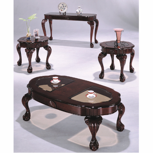 Cherry Queen Ann coffee and End table set with claw feet