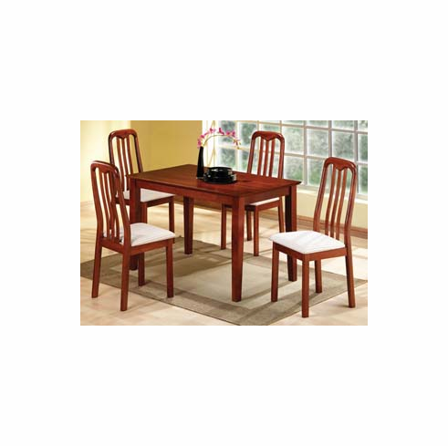 CHERRY TABLE WITH 4 MISSION STYLE CHAIRS