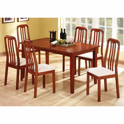 CHERRY TABLE WITH 6 MISSION STYLE CHAIRS