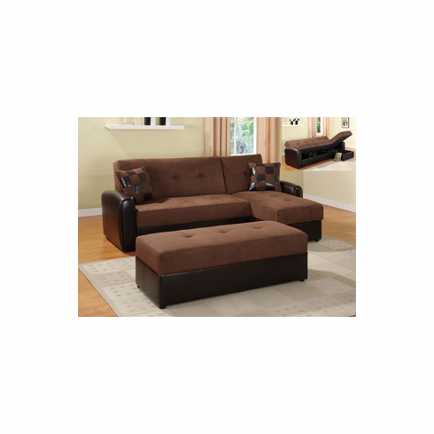CHOCOLATE SECTIONAL WITH STORAGE COMES WITH OTTOMAN