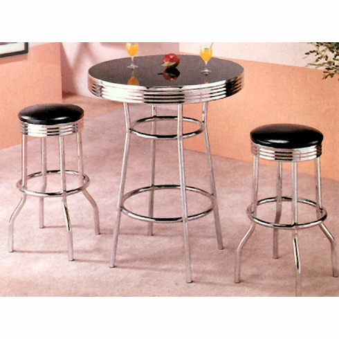 Chrome bar table with swivel bar stool