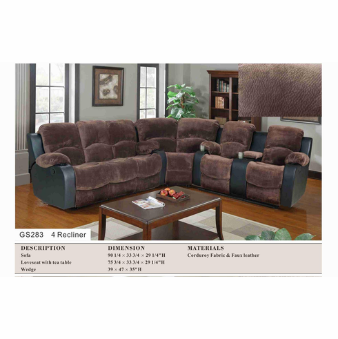 CORDUROY & FAUX LEATHER SECTIONAL WITH 4 RELINE