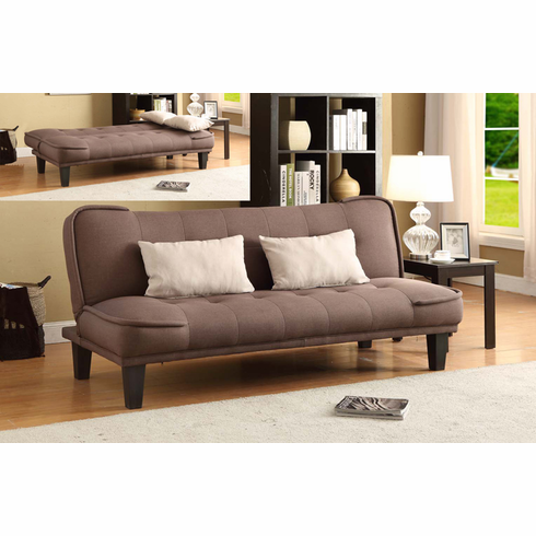 DARK BROWN FUTON MADE OF LINEN FABRIC COMES WITH 2 PILLOWS