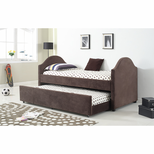 DARK BROWN TWIN BED WITH TRUNDLE ( MATTRESS OPTIONAL )