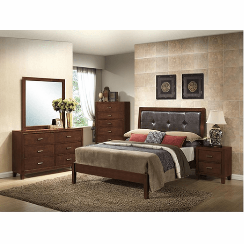 double sided leather cherry bedroom 4pcs set includes 1 nightstand