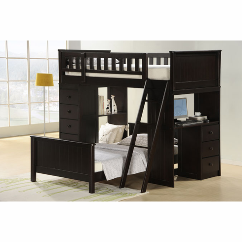 Espresso bunk bed with loft bed below comes desk and drawers