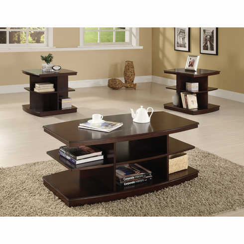 ESPRESSO COFFEE TABLE WITH SHELVES AVAILABLE WITH END TABLE