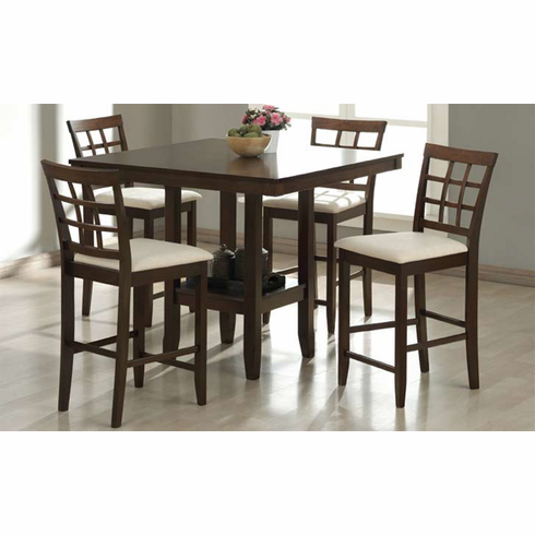 ESPRESSO COUNTER HEIGHT TABLE WITH PANEL BASE AND 4 PUB CHAIRS