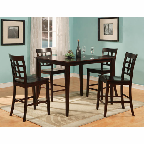 Espresso Pub table with 4 pub chairs