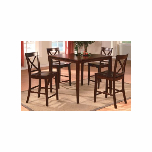 Espresso pub table with 4 x style back pub chairs