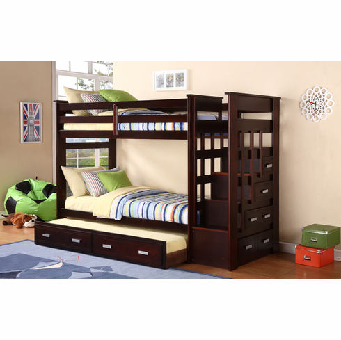 *Espresso Stairway Bunk Bed with Trundle and Storage Side Drawers