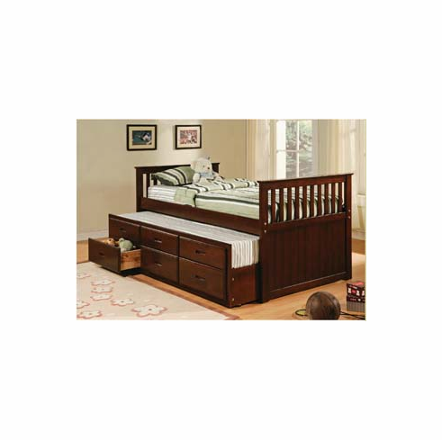 ESPRESSO TWIN CAPTAIN BED WITH TRUNDLE AND 3 DRAWERS