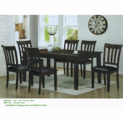 ESPRESSO WOODEN TABLE WITH 6 PADDED SEAT CHAIRS
