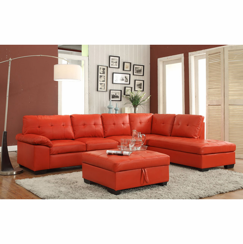 Extra Large Red Sectional with Ottoman Has Storage