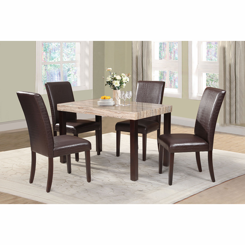 FAUX MARBLE TOP TABLE WITH 4 PADDED BACK & SEAT CHAIRS ( 5PCS)