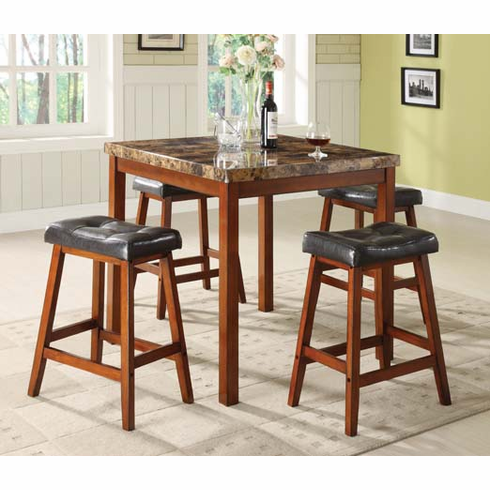 FAUX MARBLE TOP TABLE WITH 4 PADDED SEAT STOOL