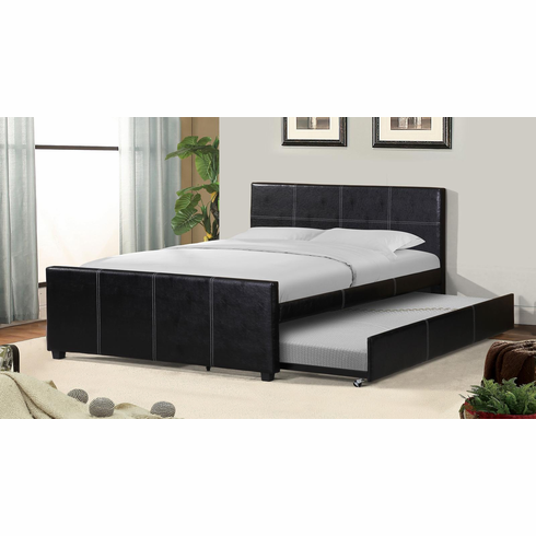 FULL LEATHER PLATFORM BED WITH TWIN TRUNDLE BED