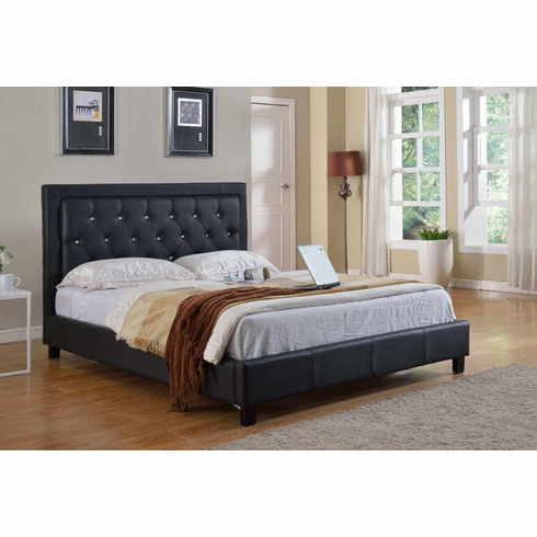 FULL SIZE LEATHER BED IN BLACK