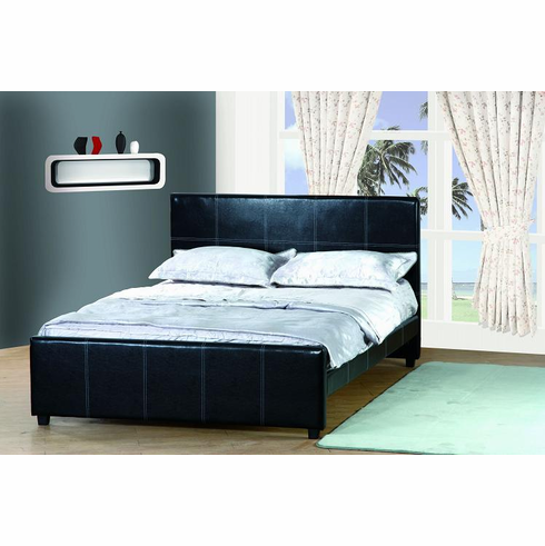 FULL SIZE LEATHER BED WITH WHITE STITCHING