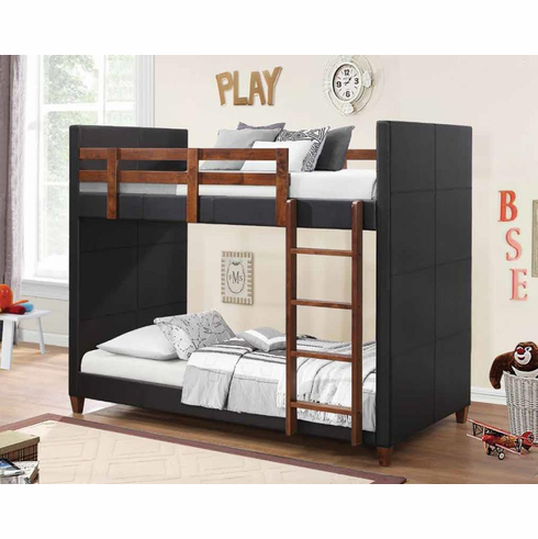 Fully cover side bunk bed with wooden legs