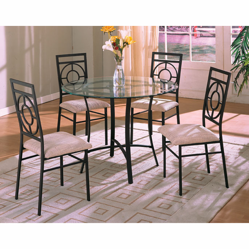 """Glass top 42"""" D table with 4 chairs"""