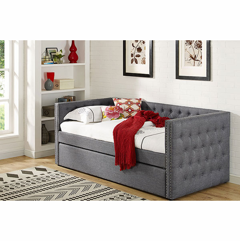 Grey Linen Daybed with Trundle