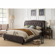 GREY QUEEN PLATFORM BED CROCODILE PATTERN