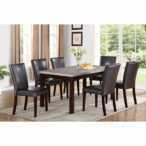 GREY TOP DINETTE  WITH 6 PADDED BACK & SEAT CHAIRS (7PCS)