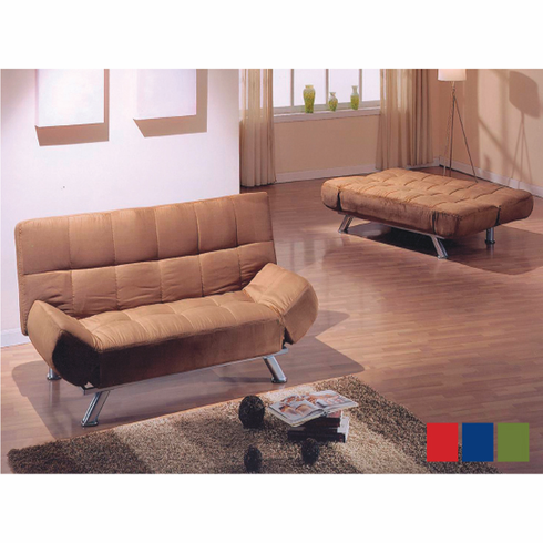 *KLIK KLAK MICROFIBER SOFA BED IN BROWN, BLUE AND BLACK