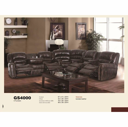 LEATHER SECTIONAL RECLINER WITH 4 FUNCTIONS