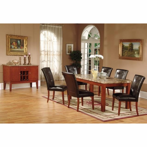 Marble dinning table with 6 padded seat & back chairs