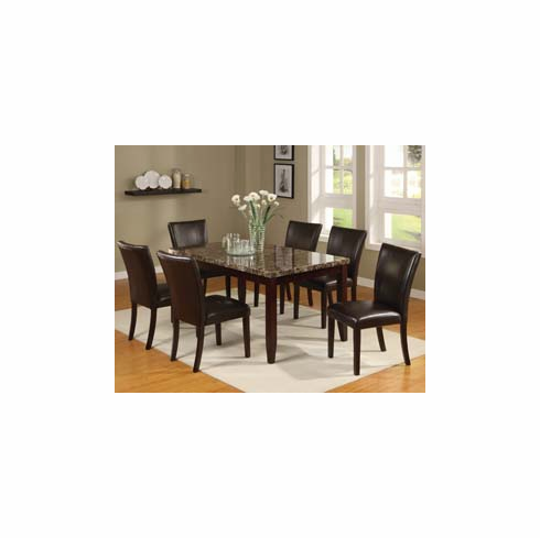 MARBLE TOP DINETTE SET WITH 6 PADDED BACK & SEAT CHAIRS