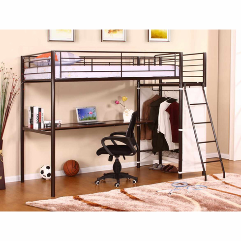 *Metal bunk bed with student desk and closet