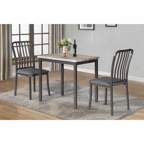 NATURAL TOP TABLE WITH 2 PADDED CHAIRS