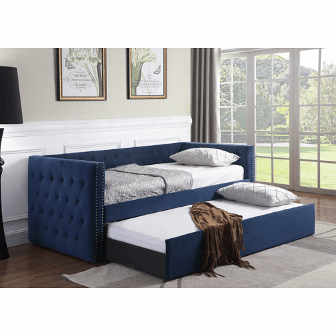 NAVY BLUE DAYBED WITH TRUNDLE