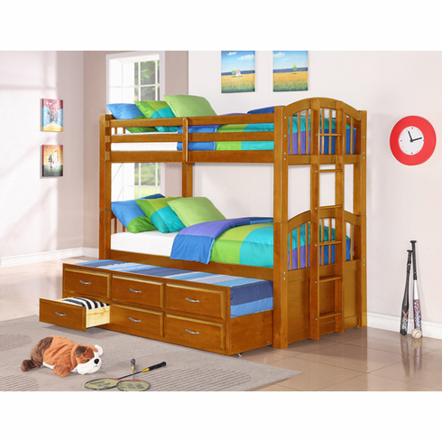 *OAK BUNK BED WITH TRUNDLE BED AND 3 DRAWERS