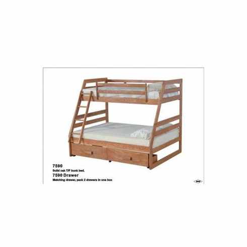 Oak bunkbed Twin/ full with drawers