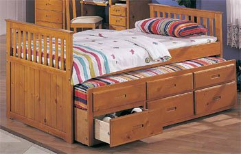 Oak Twin Captain Bed With Trundle And 3 Drawers