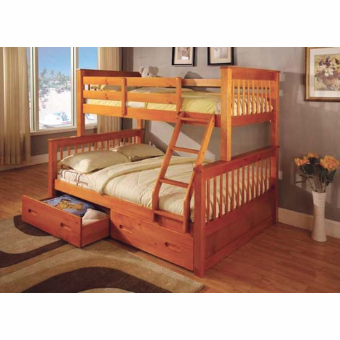 *Oak Twin/ Full bunk bed available with drawers