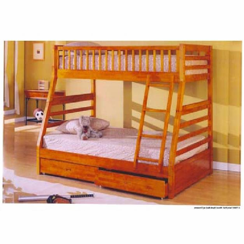 *Oak twin full bunk bed with 2 drawers