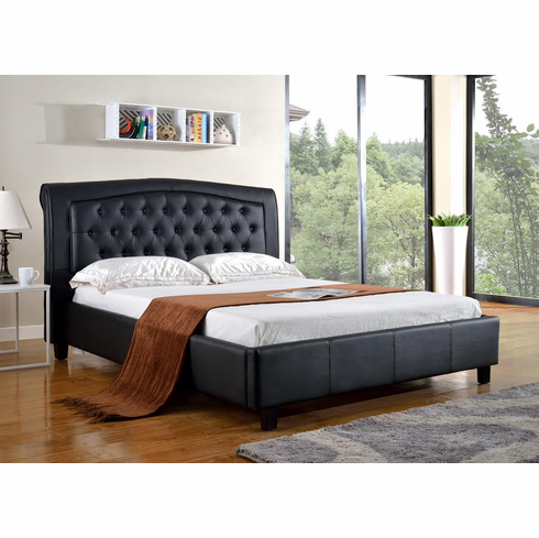 QUEEN BLACK LEATHER BED