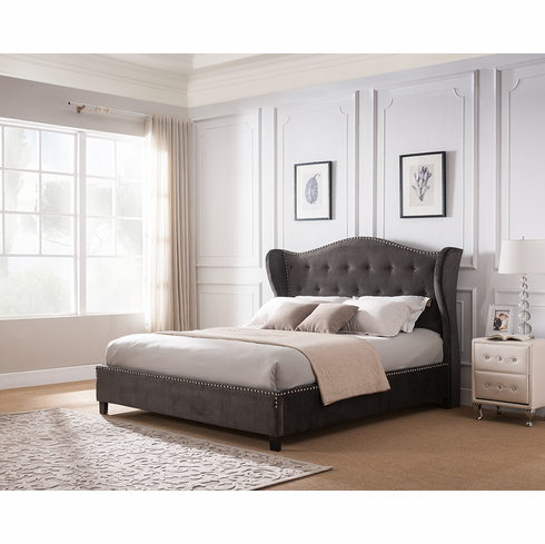 Queen  Dark Grey Semi Wrapped & Crown Style Platform Bed